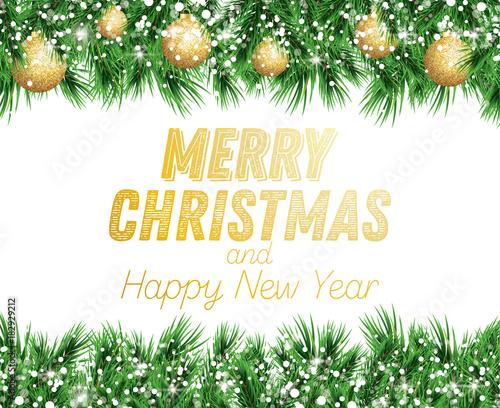 Fototapeta Fir Branch with Golden Christmas Balls and Snow Isolated on White Background. obraz na płótnie