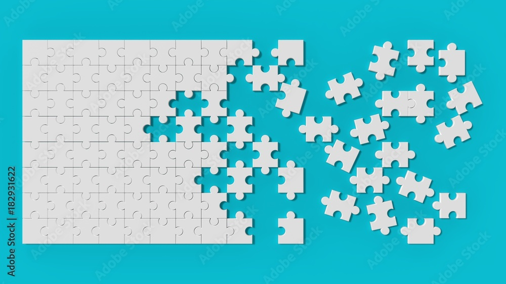Fototapeta White jigsaw puzzle with unsolved pieces on blue background. 3d illustrating.