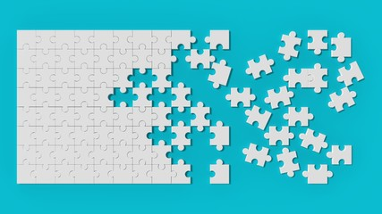 White jigsaw puzzle with unsolved pieces on blue background. 3d illustrating.