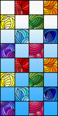 Fototapeta Mozaika Illustration in stained glass style with colorful squares colored in rainbow spectrum on the background of blue sky