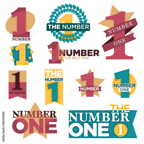 Number one best winner golden star award or laurel prize vector isolated icons set
