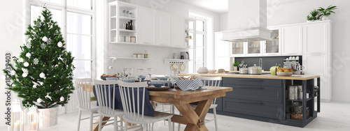 Fotografie, Obraz  nordic kitchen with christmas decoration. 3d rendering
