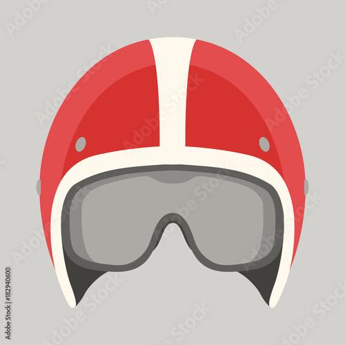 Fényképezés helmet motorcycle vector illustration flat style front