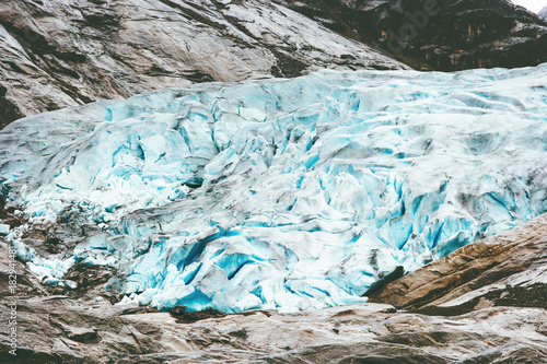 Fotobehang Gletsjers Nigardsbreen glacier in Norway Mountains Travel landmarks tourism ecology concept