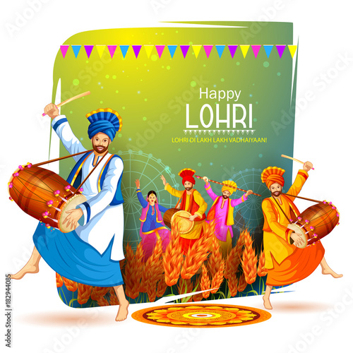 Fotografie, Obraz  Happy Lohri holiday festival of Punjab India