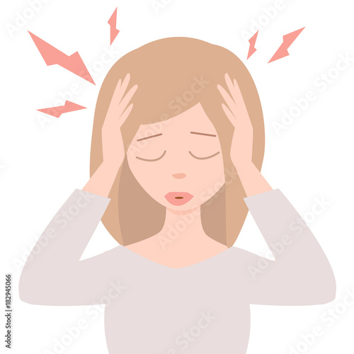 Strong Migraine Young Woman With Headache Vector Cartoon Image Stressed Girl On White Background Buy This Stock Vector And Explore Similar Vectors At Adobe Stock Adobe Stock