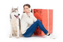 Husky Dog And Attractive Woman...