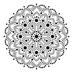 Panel Szklany Boho Aboriginal dot painting mandala, Australian ethnic design, gypsy vector dots pattern ethnic style in black Abstract mandala with dots, circles inspired by traditional, indigenous art from Australia
