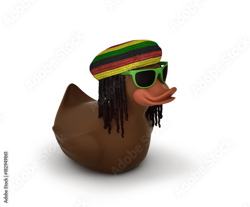 Photo  Black rubber duck in sunglasses with dreadlocks and rastamana's hat, included cl