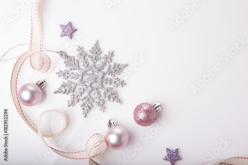 Christmas Holiday Composition Festive Creative Gold Silver Pattern Xmas Pink Decor Ball With Ribbon Snowflakes On White Background