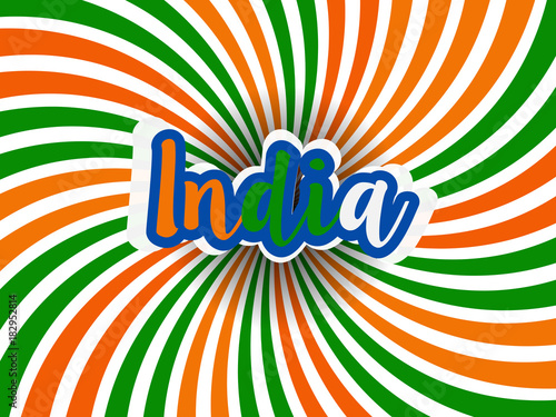 Poster Psychedelic india republic day. EPS 10. national independence day. india flag colors.logo and card vector illustration.