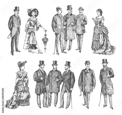 Obraz ladies and gentlemen. Man and woman figure collection. Vintage Hand Drawn big set. Group of people of the Victorian era. Fashion and clothes. Retro Illustration in ancient engraving style - fototapety do salonu