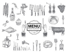 Hand Drawn Vintage Sketch Set Of Food And Drinks For Design Of The Menu. Vector Large Collection Hand Drawn Illustration With Kitchen Tools. Utensil And Cooking. Kitchenware Sketch. Engraving Style