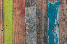 Aged Colorful Wooden Planks Fo...