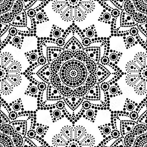 Foto op Canvas Kunstmatig Aboriginal dot painting seamless pattern, bohemian Mandala vector dot art, retro folk design inspired by traditional art from Australia