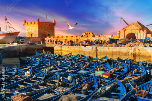 Keuken foto achterwand Marokko Fishing port of Essaouira at the sunset time, Morocco