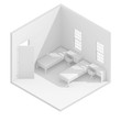 3d isometric rendering illustration of double teen bedroom