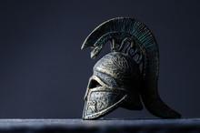 Roman Helmet On A Black Backgr...