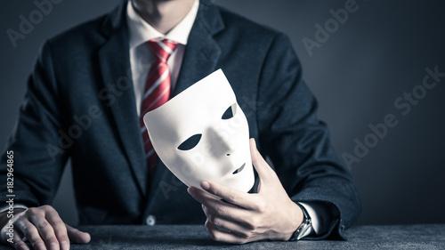 Fotografering 仮面とビジネスマン
