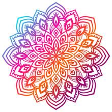 Colorful Gradient Flower Mandala. Hand Drawn Decorative Element.
