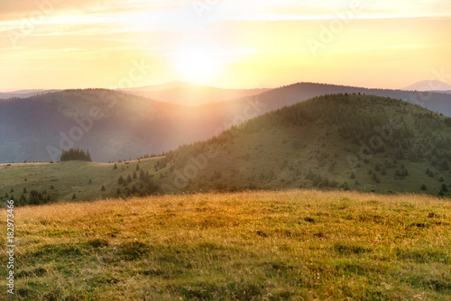Canvas Prints Honey Sunset in the mountains