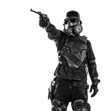 Futuristic Nazi Soldier Gas Mask And Steel Helmet With Luger Pistol Handgun Isolated On White Studio Shot