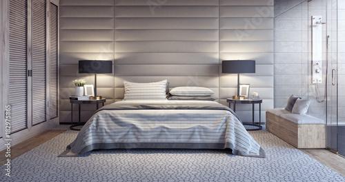 Fotografía  Modern white bedroom design with bathroom 3D Rendering