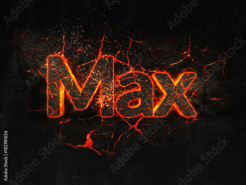 Photo  Max Fire text flame burning hot lava explosion background.