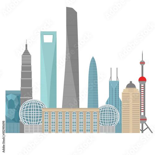 Photo  Flat building of China country, travel icon landmark