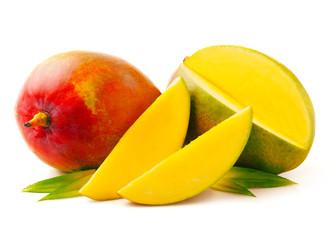Ripe, juicy mango isolated on white