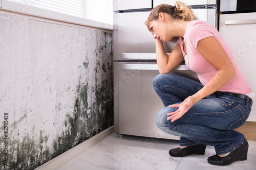 Shocked Woman Looking At Mold On Wall Wallpaper Mural
