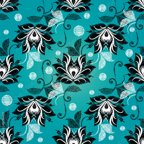 Floral Vintage Embroidery Seamless Pattern Light Blue Vector