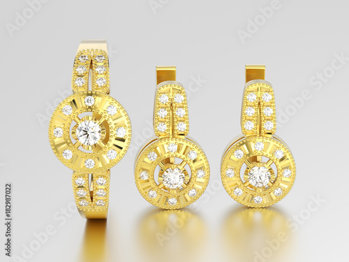 Photo  3D illustration set of yellow gold decorative diamond earrings with hinged lock