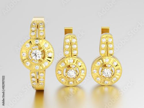 Fotografia, Obraz  3D illustration set of yellow gold decorative diamond earrings with hinged lock