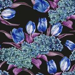 Fototapeta Tulipany Floral seamless pattern with watercolor lilac and tulips