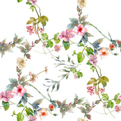 Fototapeta Watercolor painting of leaf and flowers, seamless pattern on white background