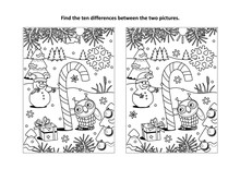 Winter Holidays, New Year Or Christmas Themed Find The Ten Differences Picture Puzzle And Coloring Page With Magical Candy Cane, Owl And Snowman.