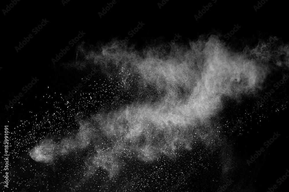 Fototapety, obrazy: Freeze motion of white powder explosions isolated on black background.