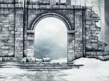 Ruiny Zamkowej Bramy Pod śnie...