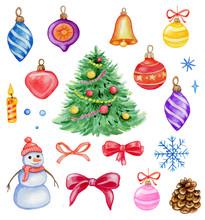 Watercolor Christmas Design Elements