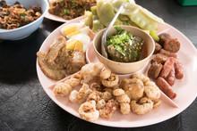 Nam Prik Num With Sai Oua, Streaking Crispy Pork, Boiled Egg And Boiled Vegetables, Set Of Northern Thai Food
