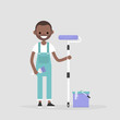 Smiling worker holding a paint roller. Renovating the house. Young character wearing a jumpsuit. Flat editable vector illustration, clip art
