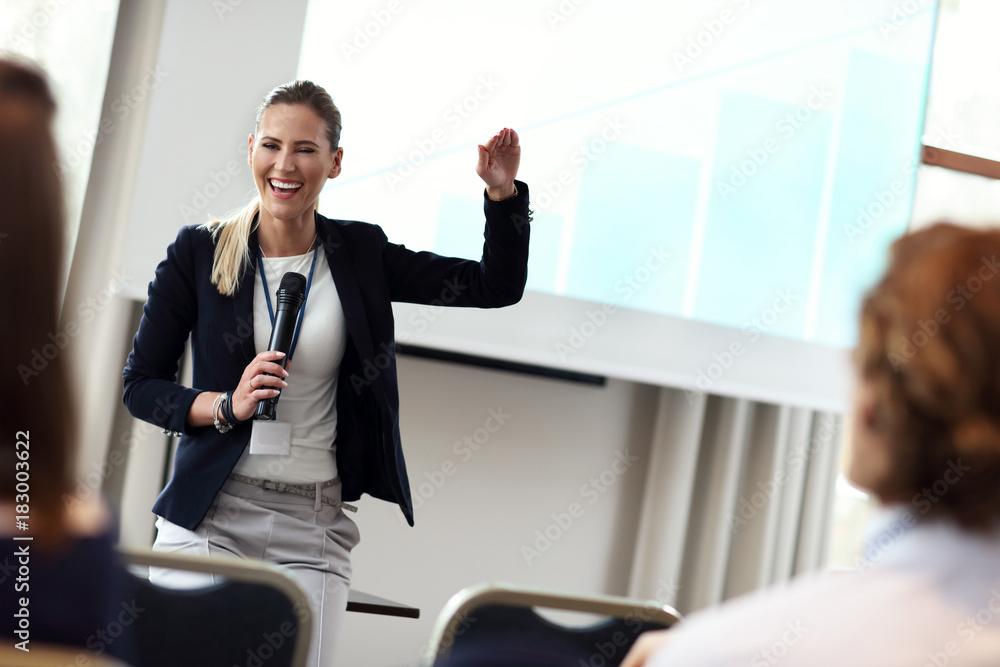 Fototapeta Business people having a conference