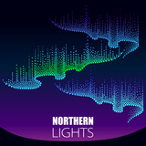 Vector dotted swirls of color northern or polar light on the Polar sky. Aurora borealis lights in dotwork style on the night background for arctic space or galaxy design.