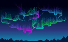 Vector Panorama Of Polar Sky With Color Northern Or Polar Light. Night Landscape With Dotted Swirls Of Aurora Borealis Lights In Dotwork Style On The Dark Background For Space Or Galaxy Design.