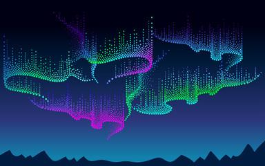Wektor panorama Polarne niebo z kolorowym północnym lub polarnym światłem. Nocny krajobraz z kropkami wiruje światła Aurora borealis w stylu dotwork na ciemnym tle do projektowania przestrzeni lub galaktyk.