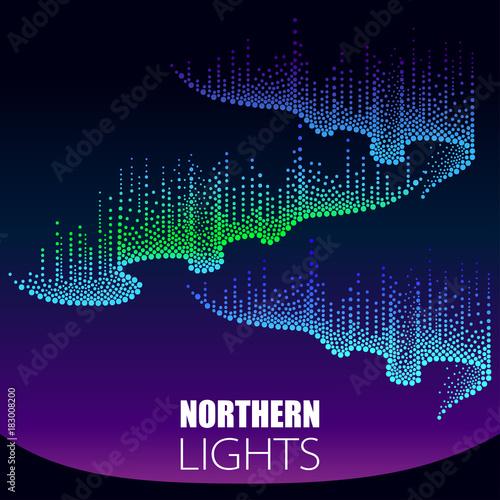 Wektor kropkowane wiruje kolor północnego lub polarnego światła na niebie polarnym. Światła zorzy polarnej w stylu dotwork na tle nocy dla przestrzeni arktycznej lub galaktyki.