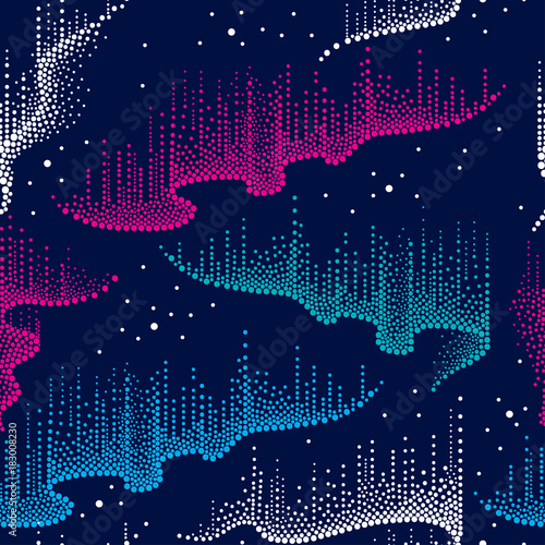 Vector seamless pattern with dotted swirls of color northern or polar light in blue, pink and white on the dark background. Aurora borealis lights in dotwork style for space and galaxy design.