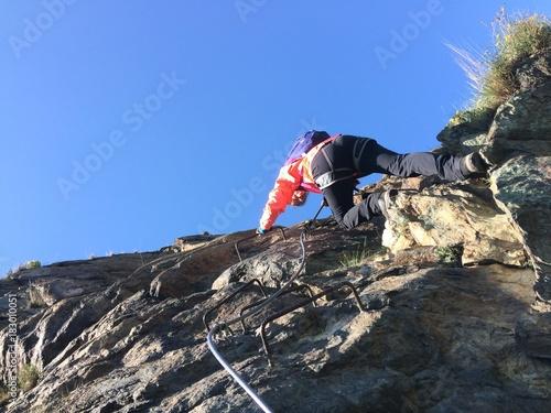 Tuinposter Alpinisme Via Ferrata Sacra di San Michele