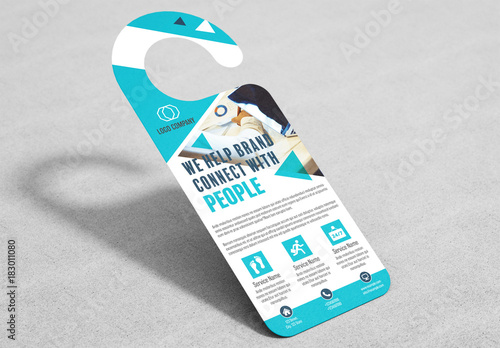 Business Door Hanger Layout with Teal Accents. Kaufen Sie diese ...